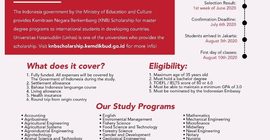 Are you willing to study at Universitas Hasanuddin? KNB Scholarship is the answer!